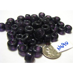 M690 India Glass Crow Bead DK AMETHYST  9mm