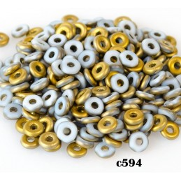 C594 Czech Glass O Ring CHALK WHITE AMBER MAT 3mm
