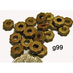 G99 Greek Ceramic Bead Tiny Gear ANTIQUE GOLD   6mm