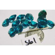 S61 Swarovski Heart Pendant 6202  BLUE ZIRCON  10mm