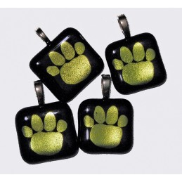Handmade Fused Dichroic Glass Tiger Paw Pendant Black/Gold