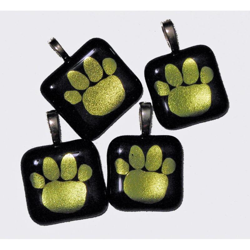Handmade Fused Dichroic Glass Tiger Paw Pendant Black/Gold