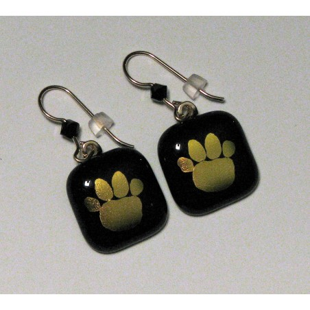 Handmade Fused Dichroic Glass Tiger Paw Earrings Black/Gold