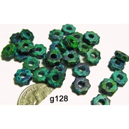 G128 Greek Ceramic Bead Tiny Gear AGEAN MIX  6mm