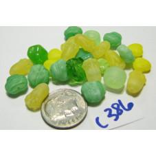 C386 Czech Bead Soup Mix YELLOW GREEN