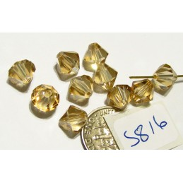 S816 Swarovski Bicone Bead CRYSTAL GOLDEN SHADOW  8mm