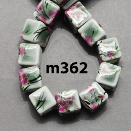 M362 Handmade Porcelain Printed Cube WHITE GREEN FUCHSIA 10mm