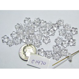 C1470 Czech Glass Flower Bead CRYSTAL 8x3mm
