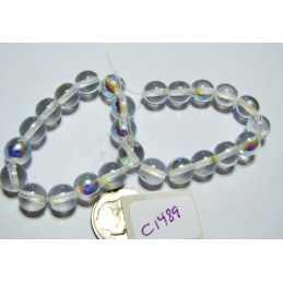 C1489 Czech Glass Round Bead Druk CRYSTAL AB  8mm