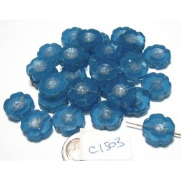 C1503 Czech Glass Hawaian Flower Bead BLUE TRANSPARANT 14mm