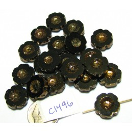 C1496 Czech Glass Hawaian Flower Bead BLACK/BRONZE 14mm