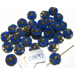C1497 Czech Glass Hawaian Flower Bead BLUE/TRANSPARENT 14mm