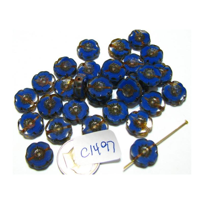 C1497 Czech Glass Hawaian Flower Bead BLUE/TRANSPARENT 11mm