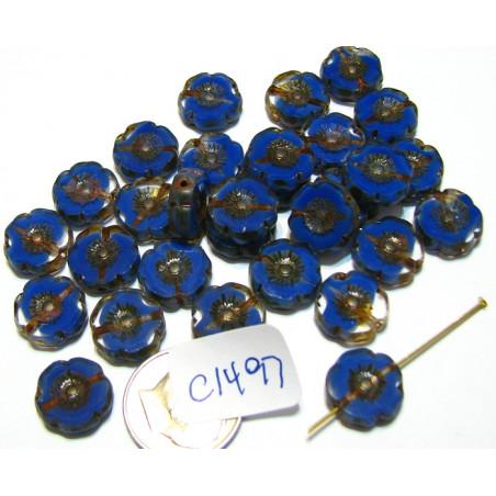 C1497 Czech Glass Hawaian Flower Bead BLUE/TRANSPARENT 14mm