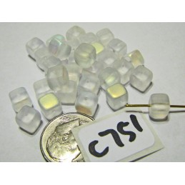 C751 Czech Glass Rounded Cube FROSTED CRYSTAL AB 5mm