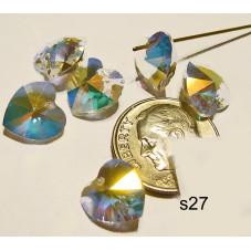 S27 Swarovski Heart Pendant 6202  CRYSTAL AB  10mm