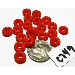 C749 Czech Glass Ring Bead OPAQUE ORANGE 8x2.5mm