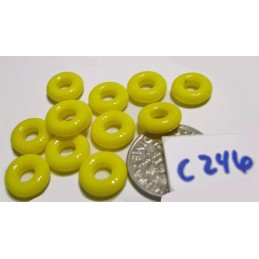 C246 Czech Glass Ring Bead OPAQUE YELLOW 10x3mm