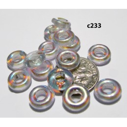 C233 Czech Glass Ring Bead CLEAR AB 10x3mm