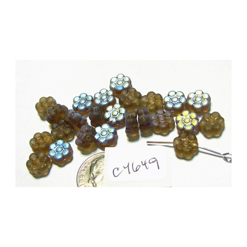 C4649 Czech Glass Flat Flower Bead SMOKED TOPAZ AB FROSTED  8mm