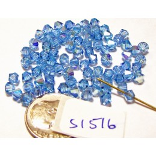 S1516 Swarovski Crystal Bicone Bead  AQUAMARINE AB 4mm