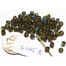 S1053 Swarovski Crystal Bicone Bead SMOKY QUARTZ AB 4mm