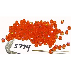 S774 Swarovski Bicone Bead RED TOPAZ AB 4mm