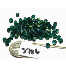 S786 Swarovski Crystal Bicone Bead EMERALD AB 4mm