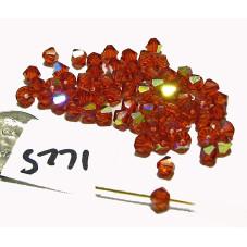 S771 Swarovski Crystal Bicone Bead INDIAN RED AB 4mm