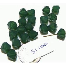 S1100 Swarovski Crystal Bicone Bead PALACE GREEN OPAL 8mm