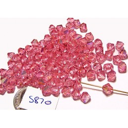 S870 Swarovski Bicone Bead LIGHT ROSE AB   6mm