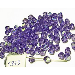 S865 Swarovski Crystal Bicone Bead TANZANITE AB   6mm