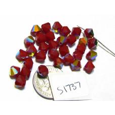 S1737 Swarovski Crystal Bicone Bead DARK RED CORAL AB 6mm