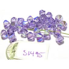S1495 Swarovski Crystal Bicone Bead LIGHT TANZANITE AB  6mm