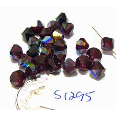 S1295 Swarovski Crystal Bicone Bead GARNET AB 6mm
