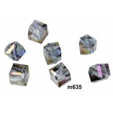 M635 Glass Irregular Faceted Bead BRASS PURPLE TRANS 5mm
