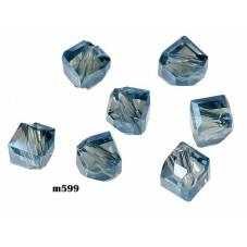 M599 Glass Irregular Faceted Bead DEEP BLUE TRANS 5mm