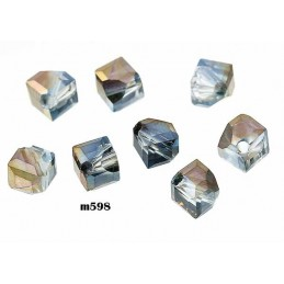 M598 Glass Irregular Faceted Bead BRASS AB TRANS 5mm