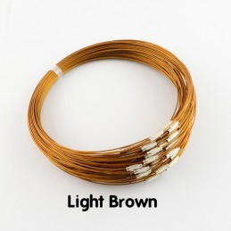 LIGHT BROWN Stainless Steel Choker Screw Clasp 18 inch