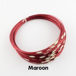 MAROON Stainless Steel Choker Screw Clasp 18 inch
