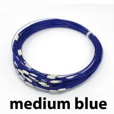 MEDIUM BLUE Stainless Steel Choker Screw Clasp 18 inch
