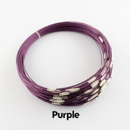 PURPLE Stainless Steel Choker Screw Clasp 18 inch
