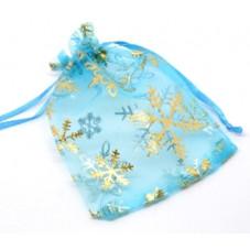 Organza Gift Bags Snowflake LIGHT BLUE 9x12cm
