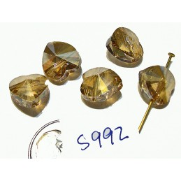S992 Swarovski Heart Horizontal Drilled 5742 CRYSTAL GOLDEN SHADOW 10mm