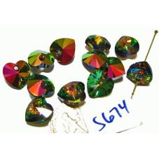 S674 Swarovski Heart Pendant 6202-6228 CRYSTAL VITRAIL MEDIUM  10mm