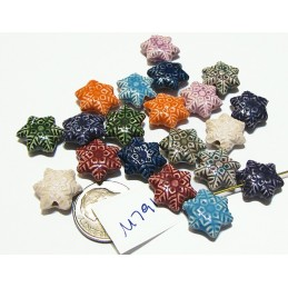 M791 Peruvian Ceramic Snowflake Star COLOR MIX  12mm