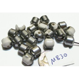 M830 Electroplated Ceramic Cathedral Cut Beads SILVER & WHITE 8mm