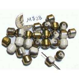 M828 Electroplated Ceramic Cathedral Cut Beads GOLD & WHITE 8mm