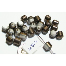 M826 Electroplated Ceramic Cathedral Cut Beads BRONZE & WHITE 8mm