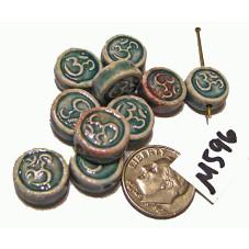 M596 Peruvian Handmade Raku Flat Round Bead Om GREY GREEN 13x6mm